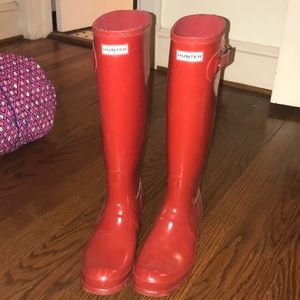 brand new red hunter boots